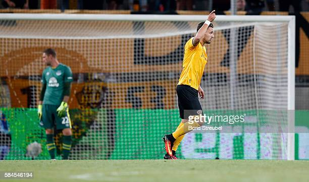 Pascal Testroet of Dynamo Dresden celebrates after scoring his team's second goal during the Bundeswehr Karriere Cup Dresden 2016 match between...