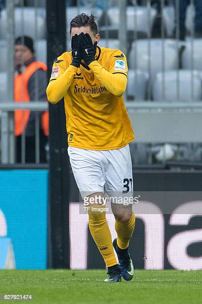 Pascal Testroet of Dynamo Dresden gestures during the Second Bandesliga match between TSV 1860 Muenchen and Dynamo Dresden at Allianz Arena on...