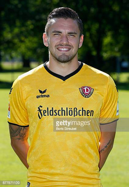 Pascal Testroet of Dynamo Dresden poses during the Dynamo Dresden Team Presentation on July 19 2016 in Dresden Germany