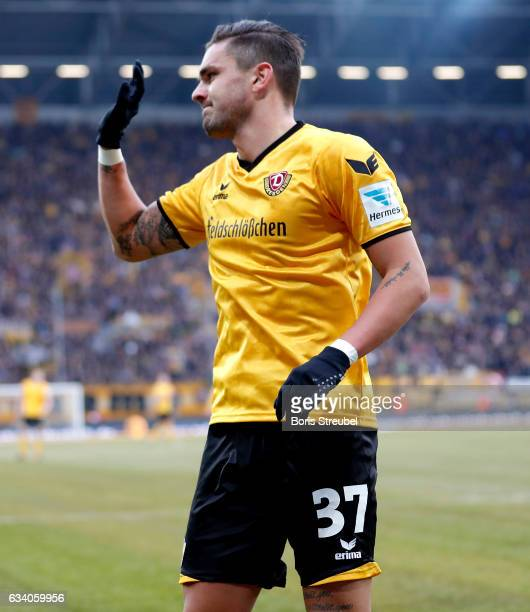 Pascal Testroet of SG Dynamo Dresden reacts during the Second Bundesliga match between SG Dynamo Dresden and 1 FC Union Berlin at DDVStadion on...
