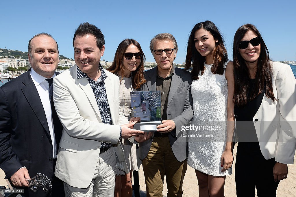 Pascal Vicedomini Iginio Straffi Elsa Zylberstein Christoph Waltz Moran Atias and Gisella Marengo attend the Ischia Global Fest 2013 Press Conference...