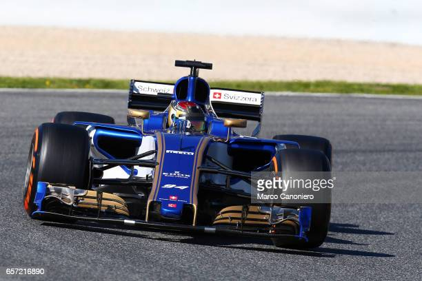Pascal Wehrlein driving the Sauber F1 Team Sauber C36 Ferrari on track during day one of Formula One winter testing at Circuit de Catalunya