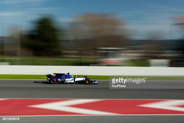 Pascal Wehrlein from Germany of Sauber F1 C36 in action during the Formula One winter testing at Circuit de Catalunya on March 9 2017 in Montmelo...