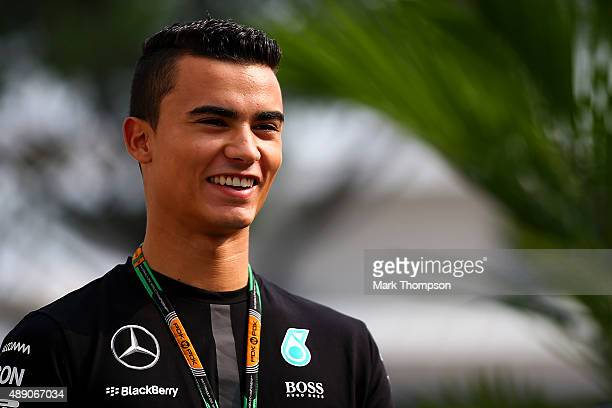 Pascal Wehrlein of Germany and Mercedes GP arrives in the paddock before final practice for the Formula One Grand Prix of Singapore at Marina Bay...