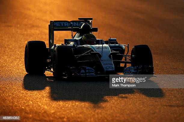 Pascal Wehrlein of Germany and Mercedes GP drives during day one of Formula One Winter Testing at Circuit de Catalunya on February 19 2015 in...