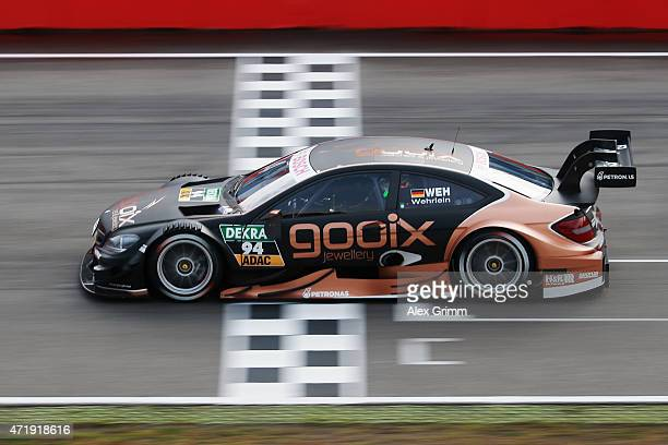 Pascal Wehrlein of Germany and Mercedes HWA drives during a training session prior to the qualifying for the first round of the DTM 2015 German...