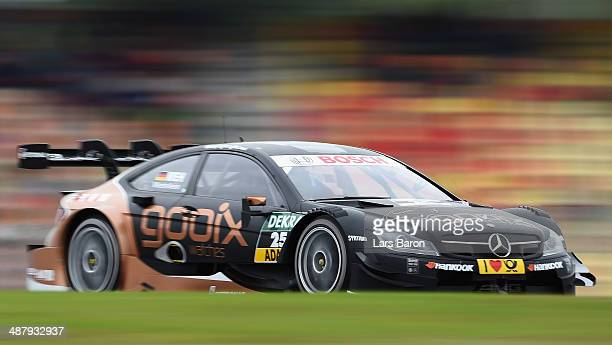 Pascal Wehrlein of Germany and Mercedes HWA drives during a training session prior to the qualifying for the first round of the DTM 2014 German...