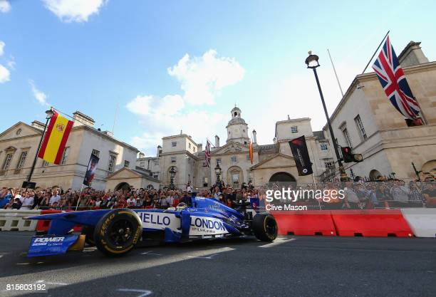 Pascal Wehrlein of Germany and Sauber F1 driving the Sauber C32 during F1 Live London at Trafalgar Square on July 12 2017 in London England F1 Live...