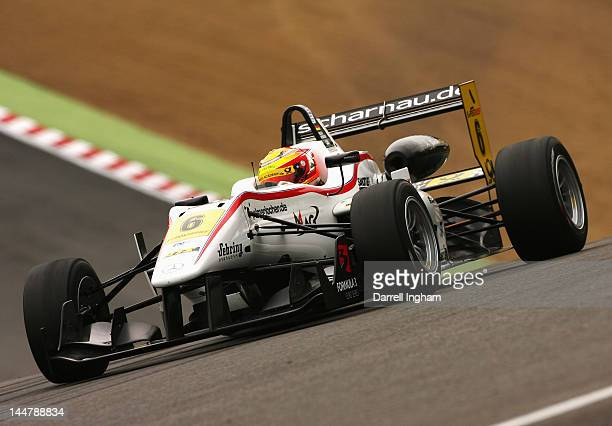 Pascal Wehrlein of Germany drives the Mucke Motorsport Dallara F312 Mercedes during practice for the Formula 3 Euro Series race at the Brands Hatch...
