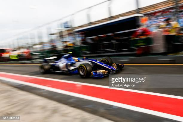 Pascal Wehrlein of Germany driving for the Sauber F1 Team exits pit lane on Friday Free Practice during the 2017 Rolex Australian Formula 1 Grand...