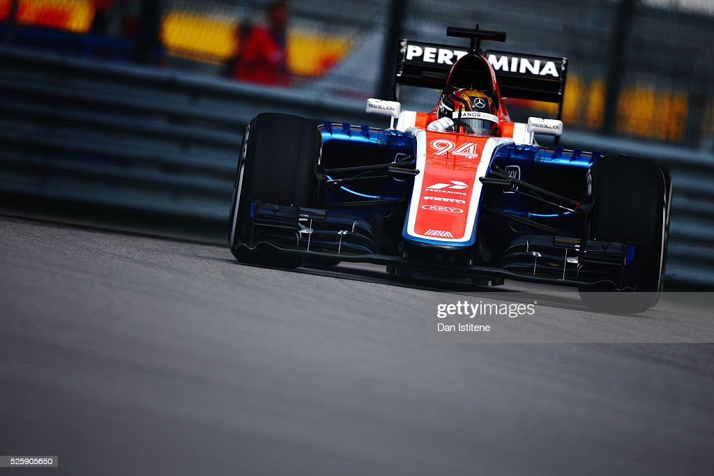 Pascal Wehrlein of Germany driving the (94) Manor Racing MRT-Mercedes MRT05 Mercedes PU106C Hybrid turbo on track during practice for the Formula One Grand Prix of Russia at Sochi Autodrom on April 29, 2016 in Sochi, Russia.