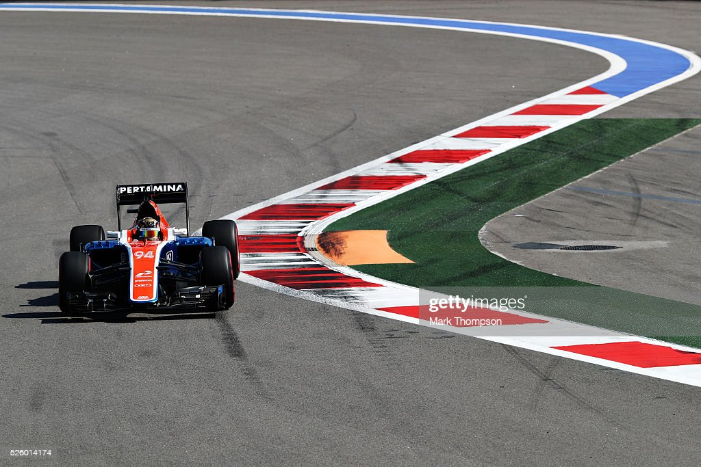 <a gi-track='captionPersonalityLinkClicked' href=/galleries/search?phrase=Pascal+Wehrlein&family=editorial&specificpeople=9406324 ng-click='$event.stopPropagation()'>Pascal Wehrlein</a> of Germany driving the (94) Manor Racing MRT-Mercedes MRT05 Mercedes PU106C Hybrid turbo on track during practice for the Formula One Grand Prix of Russia at Sochi Autodrom on April 29, 2016 in Sochi, Russia.