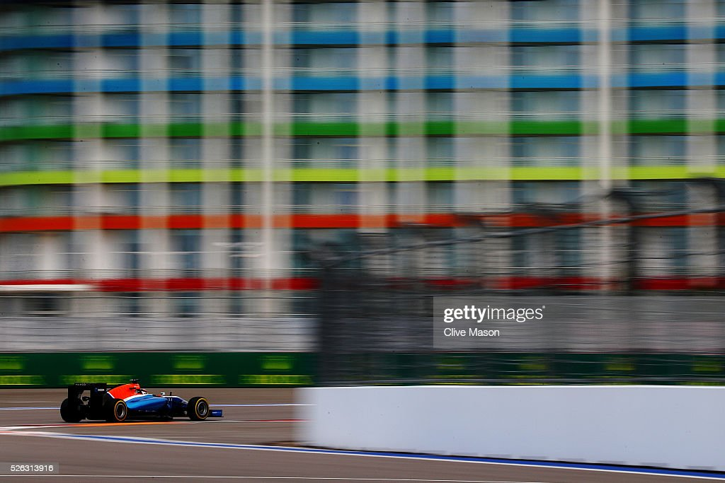 <a gi-track='captionPersonalityLinkClicked' href=/galleries/search?phrase=Pascal+Wehrlein&family=editorial&specificpeople=9406324 ng-click='$event.stopPropagation()'>Pascal Wehrlein</a> of Germany driving the (94) Manor Racing MRT-Mercedes MRT05 Mercedes PU106C Hybrid turbo on track during final practice ahead of the Formula One Grand Prix of Russia at Sochi Autodrom on April 30, 2016 in Sochi, Russia.