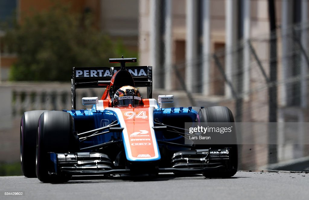 <a gi-track='captionPersonalityLinkClicked' href=/galleries/search?phrase=Pascal+Wehrlein&family=editorial&specificpeople=9406324 ng-click='$event.stopPropagation()'>Pascal Wehrlein</a> of Germany driving the (94) Manor Racing MRT-Mercedes MRT05 Mercedes PU106C Hybrid turbo on track during practice for the Monaco Formula One Grand Prix at Circuit de Monaco on May 26, 2016 in Monte-Carlo, Monaco.