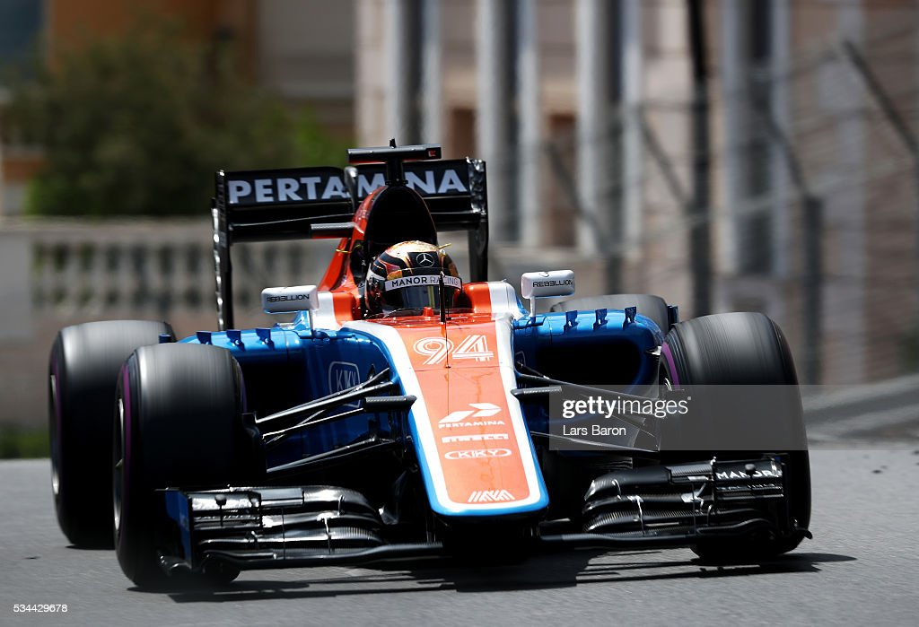 Pascal Wehrlein of Germany driving the (94) Manor Racing MRT-Mercedes MRT05 Mercedes PU106C Hybrid turbo on track during practice for the Monaco Formula One Grand Prix at Circuit de Monaco on May 26, 2016 in Monte-Carlo, Monaco.
