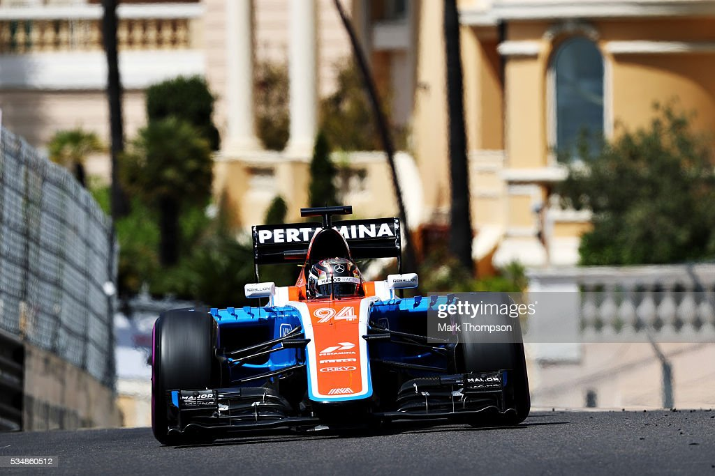 <a gi-track='captionPersonalityLinkClicked' href=/galleries/search?phrase=Pascal+Wehrlein&family=editorial&specificpeople=9406324 ng-click='$event.stopPropagation()'>Pascal Wehrlein</a> of Germany driving the (94) Manor Racing MRT-Mercedes MRT05 Mercedes PU106C Hybrid turbo on track during final practice ahead of the Monaco Formula One Grand Prix at Circuit de Monaco on May 28, 2016 in Monte-Carlo, Monaco.