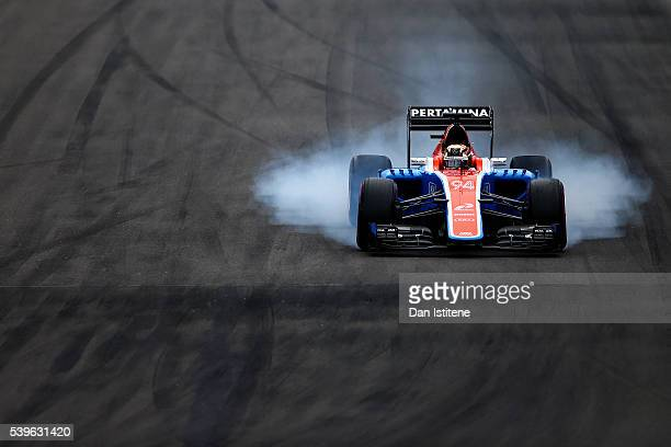 Pascal Wehrlein of Germany driving the Manor Racing MRTMercedes MRT05 Mercedes PU106C Hybrid turbo on track during the Canadian Formula One Grand...