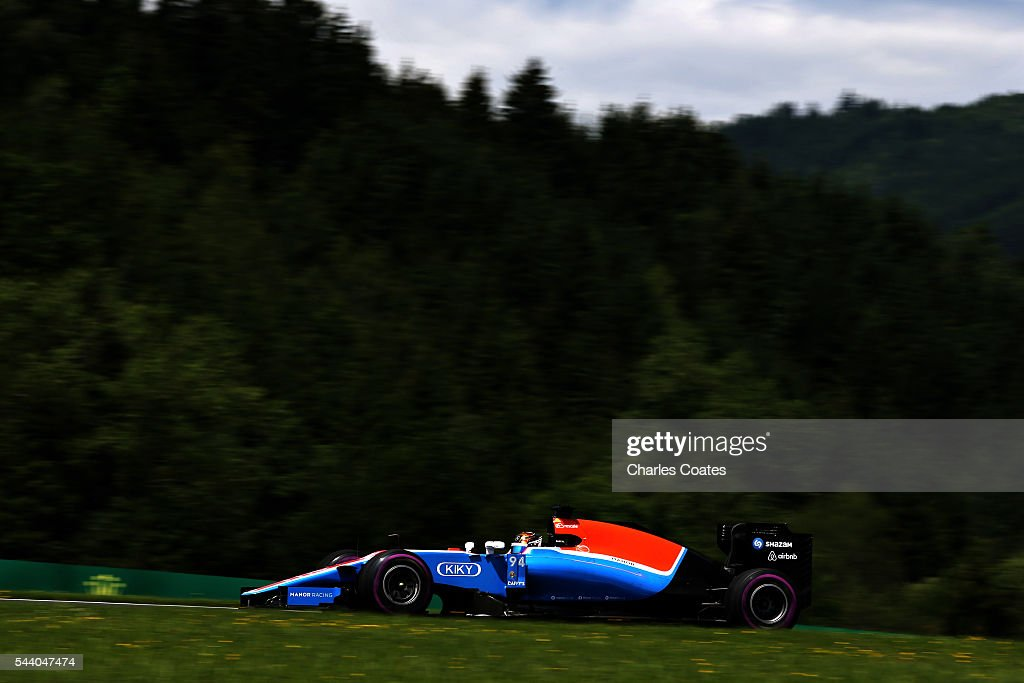 <a gi-track='captionPersonalityLinkClicked' href=/galleries/search?phrase=Pascal+Wehrlein&family=editorial&specificpeople=9406324 ng-click='$event.stopPropagation()'>Pascal Wehrlein</a> of Germany driving the (94) Manor Racing MRT-Mercedes MRT05 Mercedes PU106C Hybrid turbo on track during practice for the Formula One Grand Prix of Austria at Red Bull Ring on July 1, 2016 in Spielberg, Austria.