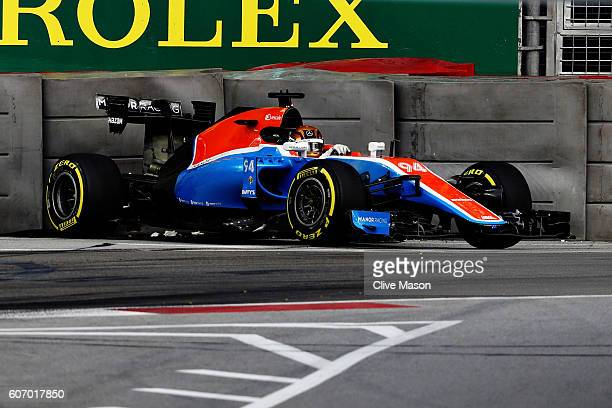 Pascal Wehrlein of Germany driving the Manor Racing MRTMercedes MRT05 Mercedes PU106C Hybrid turbo crashes into a track wall during final practice...