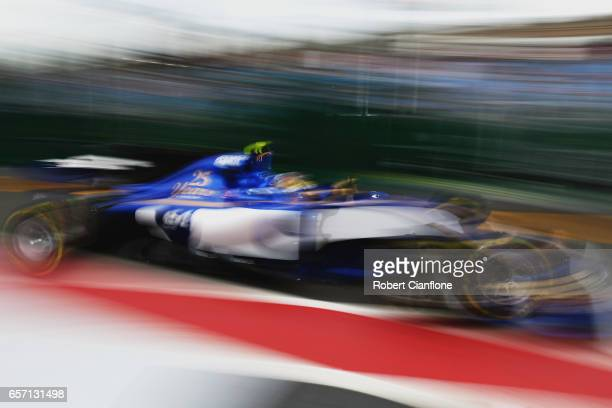 Pascal Wehrlein of Germany driving the Sauber F1 Team Sauber C36 Ferrari in the Pitlane during practice for the Australian Formula One Grand Prix at...