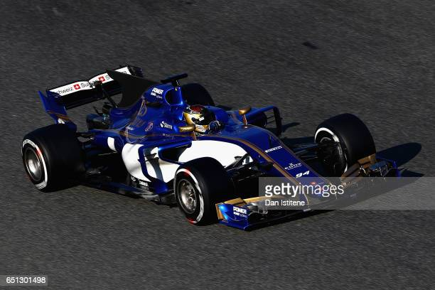 Pascal Wehrlein of Germany driving the Sauber F1 Team Sauber C36 Ferrari on track during the final day of Formula One winter testing at Circuit de...