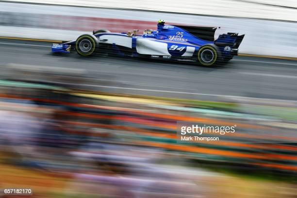 Pascal Wehrlein of Germany driving the Sauber F1 Team Sauber C36 Ferrari on track during practice for the Australian Formula One Grand Prix at Albert...