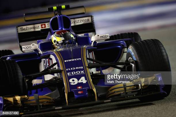 Pascal Wehrlein of Germany driving the Sauber F1 Team Sauber C36 Ferrari on track during the Formula One Grand Prix of Singapore at Marina Bay Street...