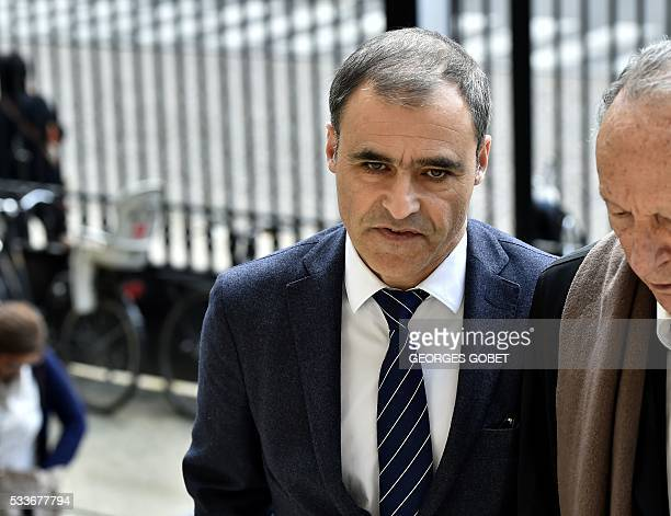 Pascal Wilhelm a former lawyer of the heiress of the cosmetics group L'Oreal arrives at the courthouse of Bordeaux southwestern France on May 23...