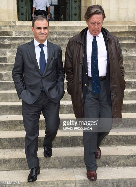 Pascal Wilhelm former authorised representative of the French L'Oreal heiress leaves the courthouse in Bordeaux western France with his lawyer...