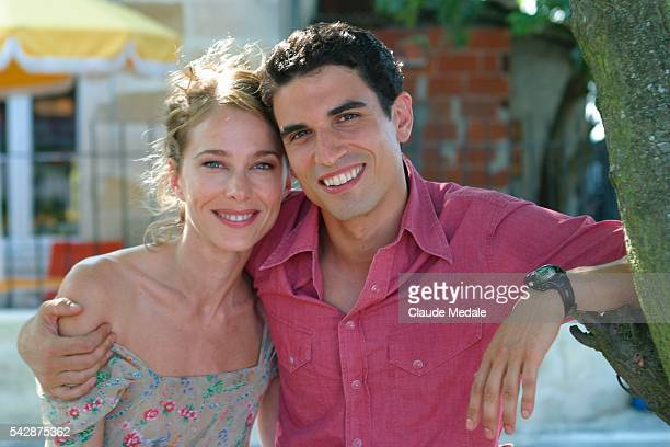 Pascale Arbillot and Stephane Metzger pose on the set of the TV movie 'Julia Ferenzi une Amie en Or' directed by Eric Woreth | Location Port Lagrange...