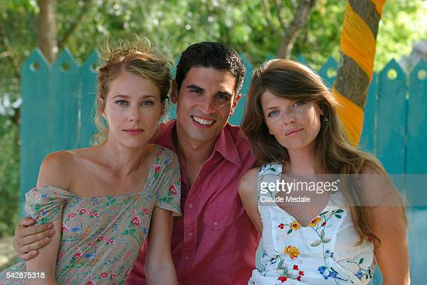 Pascale Arbillot Stephane Metzger and Gwendoline Hamon pose on the set of the TV movie 'Julia Ferenzi une Amie en Or' directed by Eric Woreth |...