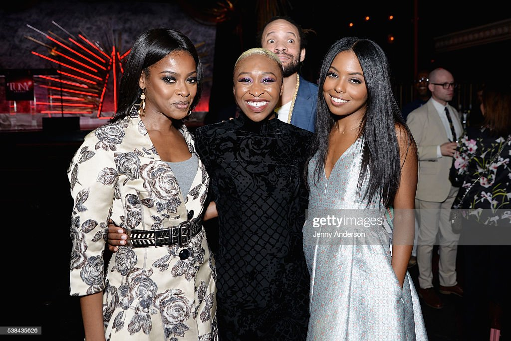 Pascale Armand, Cynthia Erivo, Savion Glover and Adrienne Warren attend the Tony Honors Cocktail Party presenting the 2016 Tony Honors For Excellence In The Theatre and honoring the 2016 Special Award recipients at Diamond Horseshoe on June 6, 2016 in New York City.