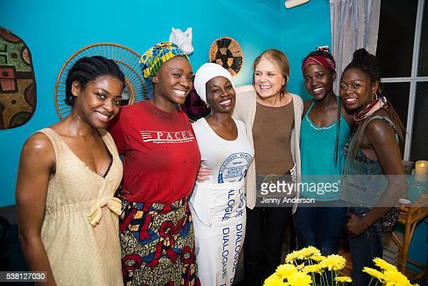 Pascale Armand Saycon Sengbloh Akosua Busia Gloria Steinem Lupita Nyong'o and Zainab Jah backstage at Broadway's 'Eclipsed' on June 4 2016 in New...