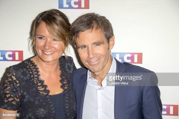 Pascale de la Tour du Pin and David Pujadas attend LCI Press Conference on August 30 2017 in Paris France