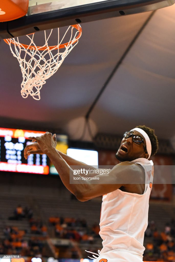 Paschal Chukwu #13 of the Syracuse Orange reacts to a pass over his head during the second half of play between the Syracuse Orange and the Pittsburgh Panthers on January 16th, 2018 at the Carrier Dome in Syracuse, NY.