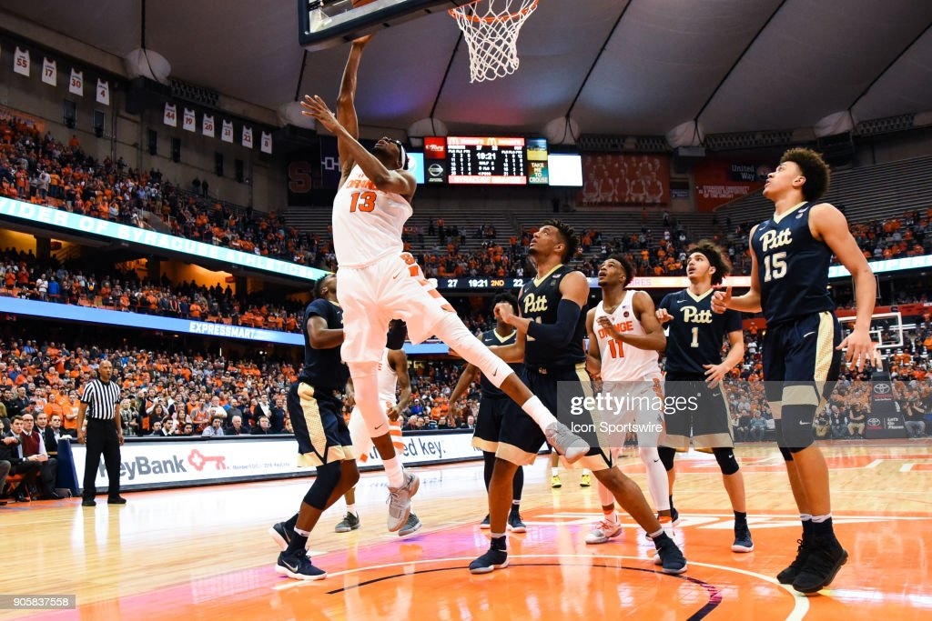 Paschal Chukwu #13 of the Syracuse Orange shoots the ball during the second half of play between the Syracuse Orange and the Pittsburgh Panthers on January 16th, 2018 at the Carrier Dome in Syracuse, NY.