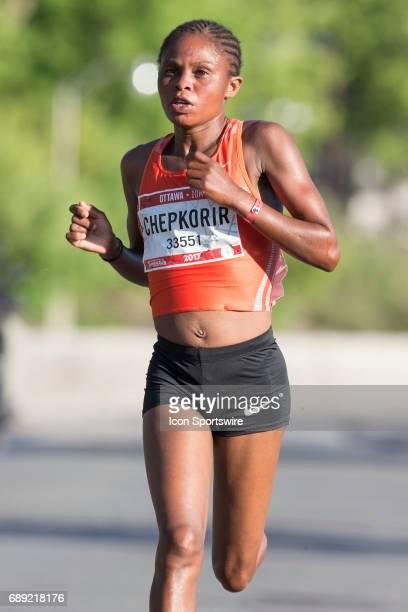 Paskalia Chepkorir of Kenya racing to second in the women's Ottawa 10K during the Tamarack Ottawa Race Weekend May 27 in Ottawa Canada The Ottawa 10K...