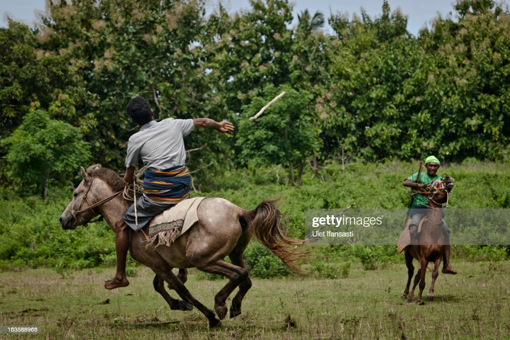 A Pasola rider throwing his spear during the pasola war festival at Weiha village on March 6, 2013 in Sumba Island, East Nusa Tenggara, Indonesia. Sandalwood pony horses are native to the island of Sumba in Indonesia. For the people of Sumba, the Sandelwood horse has an important role in all aspects of their daily life, including transportation and culture. On the island of Sumba the ancient tradition of Pasola still draws large crowds and tourists. Pasola involves two teams of men on horseback charging towards each other.
