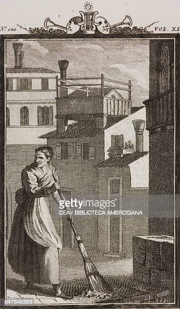 Pasqua Polegana sweeping outside her door engraving by Antonio Viviani from a drawing by G Steneri from The Little Square Act II Scene 1 Comedies...