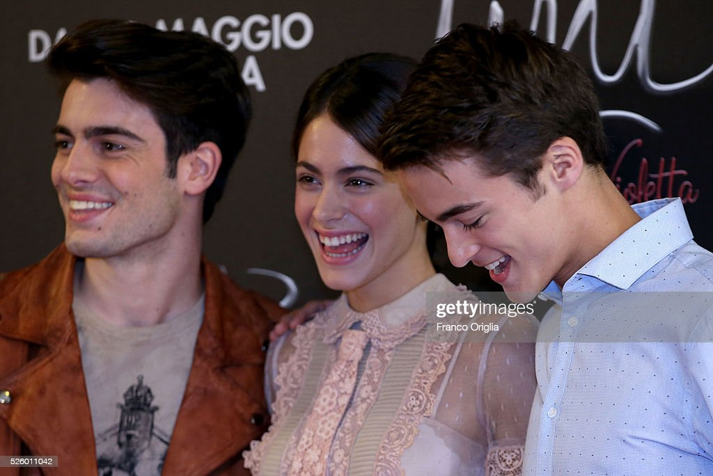Pasquale Di Nuzzo, <a gi-track='captionPersonalityLinkClicked' href=/galleries/search?phrase=Martina+Stoessel&family=editorial&specificpeople=11048236 ng-click='$event.stopPropagation()'>Martina Stoessel</a> and Leonardo Cecchi attend 'Tini - The New Life Of Violetta' Photocall In Rome at Hotel Parco dei Principi on April 29, 2016 in Rome, Italy.