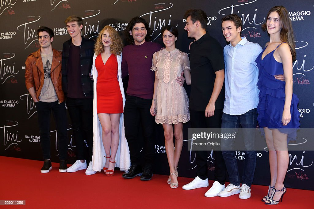 Pasquale Di Nuzzo, <a gi-track='captionPersonalityLinkClicked' href=/galleries/search?phrase=Martina+Stoessel&family=editorial&specificpeople=11048236 ng-click='$event.stopPropagation()'>Martina Stoessel</a>, Leonardo Cecchi, Adrian Salzedo, <a gi-track='captionPersonalityLinkClicked' href=/galleries/search?phrase=Jorge+Blanco&family=editorial&specificpeople=5486518 ng-click='$event.stopPropagation()'>Jorge Blanco</a>, Clara Alonso, Mercedes Lambre and Ridder van Kooten attend 'Tini - The New Life Of Violetta' Photocall In Rome at Hotel Parco dei Principi on April 29, 2016 in Rome, Italy.