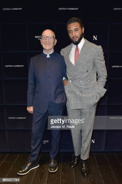 Pasquale Junior Natuzzi and Pasquale Natuzzi attend Natuzzi 'United For Armony' cocktail party during Milan Design Week on April 5 2017 in Milan Italy