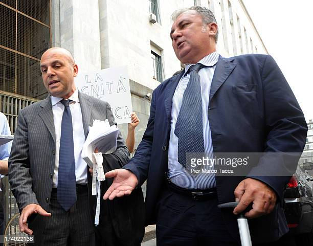Pasquale Pantano and Paolo Righi defence Lawyers of Nicole Minetti speak to waiting media outside the courthouse after the verdicts in the 'Ruby bis'...