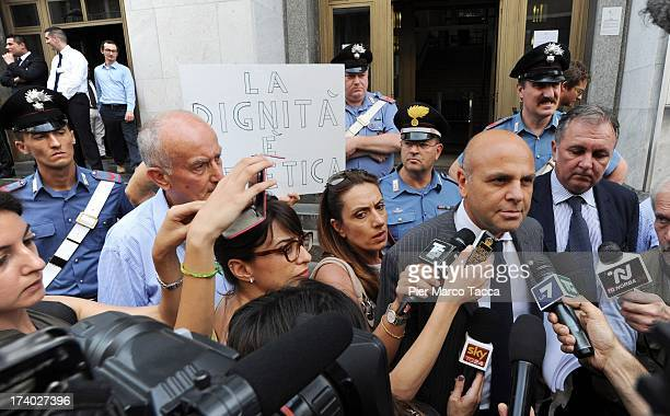 Pasquale Pantano defence Lawyer of Nicole Minetti speaks to waiting media outside the courthouse after the verdicts in the 'Ruby bis' case on July 19...