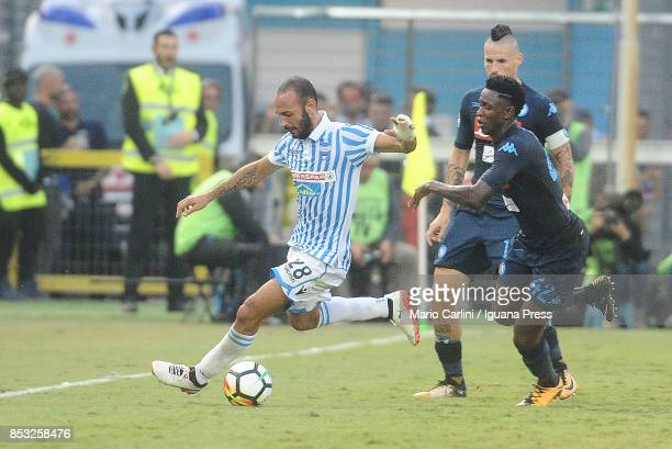 Pasquale Schiattarella of Spal competes the ball with Amadou Diawara of SSC Napoli during the Serie A match between Spal and SSC Napoli at Stadio...