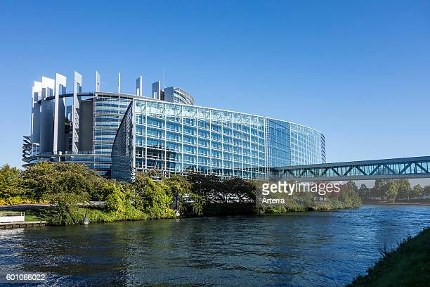 Passageway over the Ill river to the European Parliament / EP at Strasbourg France