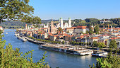 View on the city of Passau and the danube with some cruise ships