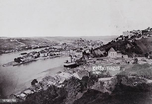 Panorama with the confluence of the Danube with Inn and Ilz About 1895 Photograph by Adolph / Passau Photograph Passau Panorama mit dem Zusammenfluss...