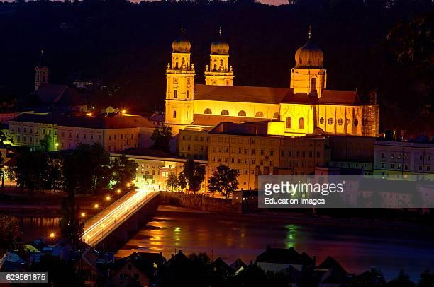 Passau River Inn St Stephan Cathedral Lower Bavaria Bavaria Germany Europe