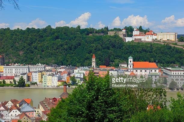Passau River Inn Veste Oberhaus fortress Lower Bavaria Bavaria Germany Europe
